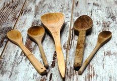 Cuillères en bois Photos libres de droits