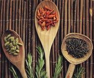 Cuillères en bois avec des épices Photographie stock