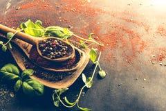 Cuillères en bois avec des épices et des herbes Photo libre de droits