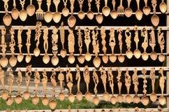 Cuillères en bois découpées Images libres de droits