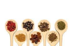 Cuillères en bois d'isolement sur le blanc avec les épices, les baies et les graines colorées Photo stock