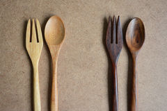 Cuillères et fourchettes en bois Photos libres de droits
