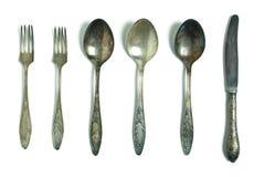 Cuillères, fourchette et couteau de cru Photographie stock libre de droits