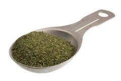 Cuiller à soupe d'herbe d'aneth sèche Photos libres de droits
