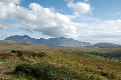 Cuillins from near Drynoch. The Cuillins of Skye from a viewpoint near Carbostmore on the west coast Stock Photography
