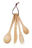 Cuillère en bois, fourchette, couteau Photographie stock