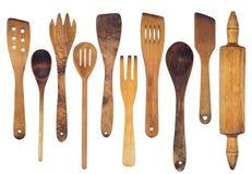 Cuillères en bois, spatules et une goupille Image libre de droits