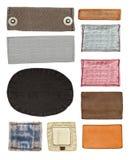 Cuir blanc, étiquettes de jeans de textile Photos stock