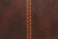 Cuir de Brown avec la couture Image stock