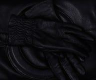 Cuir noir Photographie stock