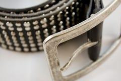 cuir noir de plan rapproché de courroie photos stock