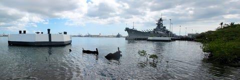 Cuirassé d'USS Missouri - épave d'USS le Maryland Images libres de droits