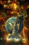 Cuirassé et planète de vaisseau spatial Image stock