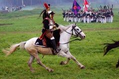 Cuirassier at Borodino battle historical reenactment in Russia Stock Image