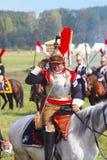 Cuirassier from Napoleon's regiment saluting. Stock Image