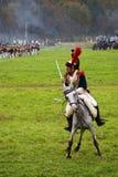 Cuirassier no reenactment histórico da batalha de Borodino em Rússia Imagem de Stock