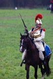 Cuirassier portrait. Borodino battle historical reenactment in Russia stock photo