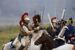 Cuirassiers σε Borodino μάχονται την ιστορική αναπαράσταση στη Ρωσία Στοκ φωτογραφίες με δικαίωμα ελεύθερης χρήσης