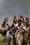 Cuirassiers at Borodino battle historical reenactment in Russia royalty free stock photos