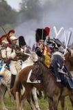 Cuirassiers at Borodino battle historical reenactment in Russia Stock Photos