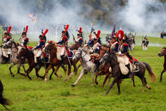 Cuirassiers at Borodino battle historical reenactment in Russia. BORODINO, MOSCOW REGION - SEPTEMBER 04, 2016: Reenactors dressed as Napoleonic war soldiers Stock Images