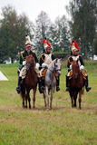 Cuirassiers at at Borodino battle historical reenactment in Russia Royalty Free Stock Photography