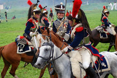 Cuirassiers at Borodino battle historical reenactment in Russia. BORODINO, MOSCOW REGION - SEPTEMBER 04, 2016: Reenactors dressed as Napoleonic war soldiers Stock Photos