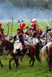 Cuirassiers at Borodino battle historical reenactment in Russia. BORODINO, MOSCOW REGION - SEPTEMBER 04, 2016: Reenactors dressed as Napoleonic war soldiers Royalty Free Stock Photography