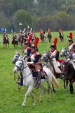 Cuirassiers at Borodino battle historical reenactment in Russia Stock Photos