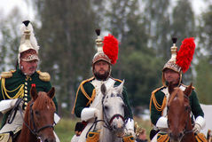 Cuirassiers at Borodino battle historical reenactment in Russia. BORODINO, MOSCOW REGION - SEPTEMBER 04, 2016: Reenactors - cuirassiers dressed as Napoleonic war Royalty Free Stock Photos