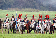Cuirassiers at Borodino battle historical reenactment in Russia stock images