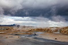Cuisant la région à la vapeur géothermique Namafjall Myvatn Islande du nord-est Scandinavie de Hverir de boue photo libre de droits