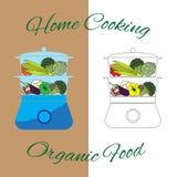 Cuiseur de vapeur avec des légumes et des champignons Vapeur de nourriture Illustration de vecteur Photographie stock libre de droits