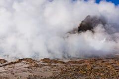 Cuisez à la vapeur d'un geyser dans la réserve nationale de flamenco de visibilité directe Photos libres de droits
