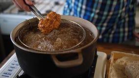 Cuisez ? la friteuse Viande, croustillante images libres de droits