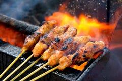 Cuisine asiatique délicieuse, poulet Satay de la Malaisie Photos stock