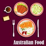 Cuisine australienne avec les poissons, la viande et la salade Photo libre de droits