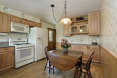 Cuisine avec le cabinetry en bois de chêne Photographie stock libre de droits