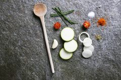 Cuisine, a beautifully arranged picture of cooking ingredients. Cooking ingredient a picture of nicely arranged cooking ingredients Royalty Free Stock Photos