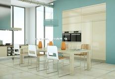 Cuisine beige moderne dans le grenier avec une belle conception Image stock