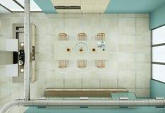 Cuisine beige moderne dans le grenier avec une belle conception Photos stock