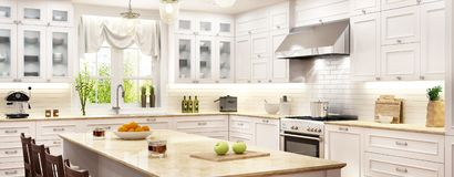 Cuisine blanche de luxe avec la fenêtre illustration libre de droits