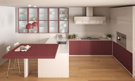 Cuisine Blanche Et Rouge Minimale Classique Avec Le Plancher De ...