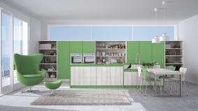 cuisine blanche et verte moderne avec les dtails en bois grande fentre w illustration stock illustration du contemporain home 88090536