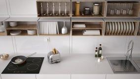 Cuisine blanche scandinave, système de étagère, minimalistic images stock