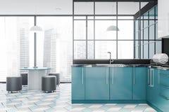 Cuisine bleue panoramique intérieure avec la table illustration libre de droits