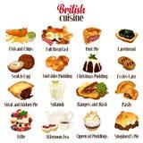 Cuisine britannique de nourriture illustration libre de droits