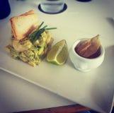 Cuisine captures. Avocado with prawns Stock Photo