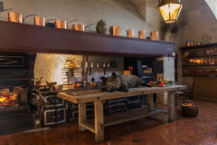 Cuisine of the chateau and sumptuous dishes. Sanglier, lobster, copper pans, luxury in this kitchen of the castle of Vaux le Vicomte in france Stock Images