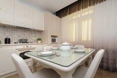 Cuisine colorée beige moderne et salle à manger photographie stock libre de droits